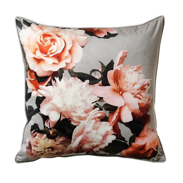 Floral cushion grey