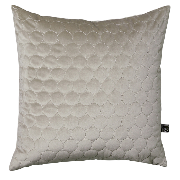 Quilted circles cushion taupe
