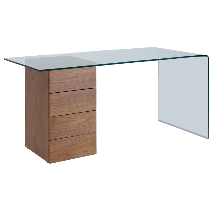 Refract desk with drawers walnut