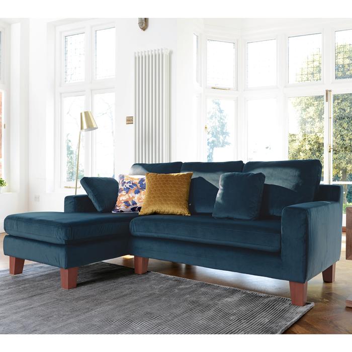 Ankara left hand corner sofa blue velvet