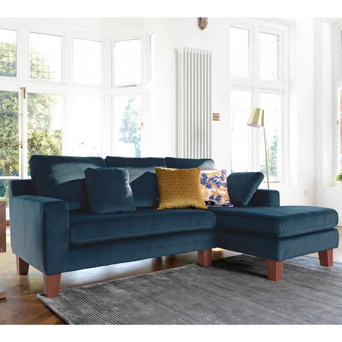 Ankara right hand corner sofa blue velvet