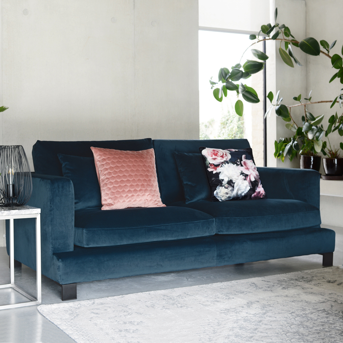 Lugano three seater sofa blue velvet