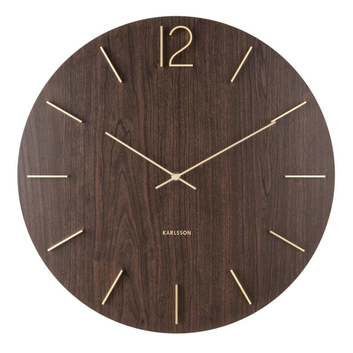 Darkwood and gold wall clock