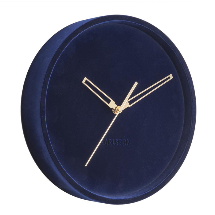 Velvet wall clock blue