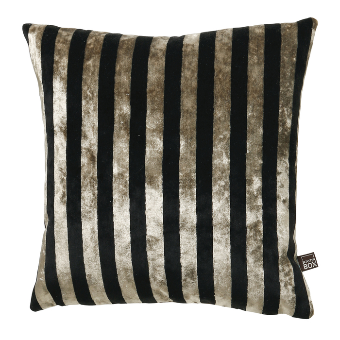 Velvet stripe cushion black and gold