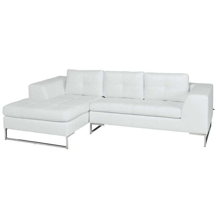 Vienna Leather Left Hand Compact Corner Sofa White | dwell - £1,799