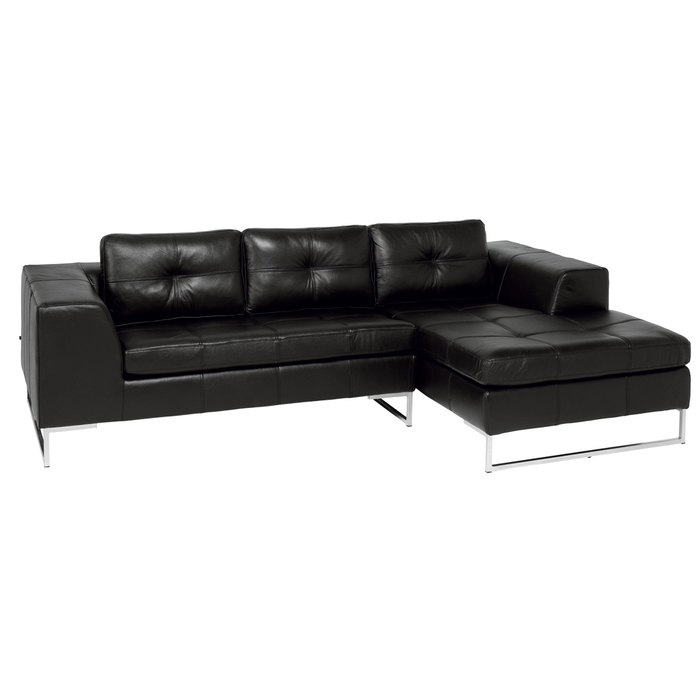 Vienna leather right hand compact corner sofa black