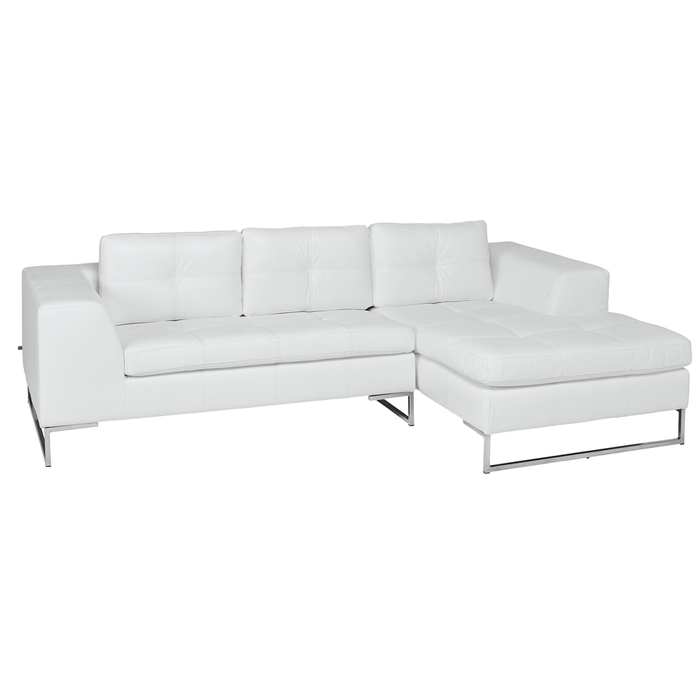 Vienna leather right hand compact corner sofa white