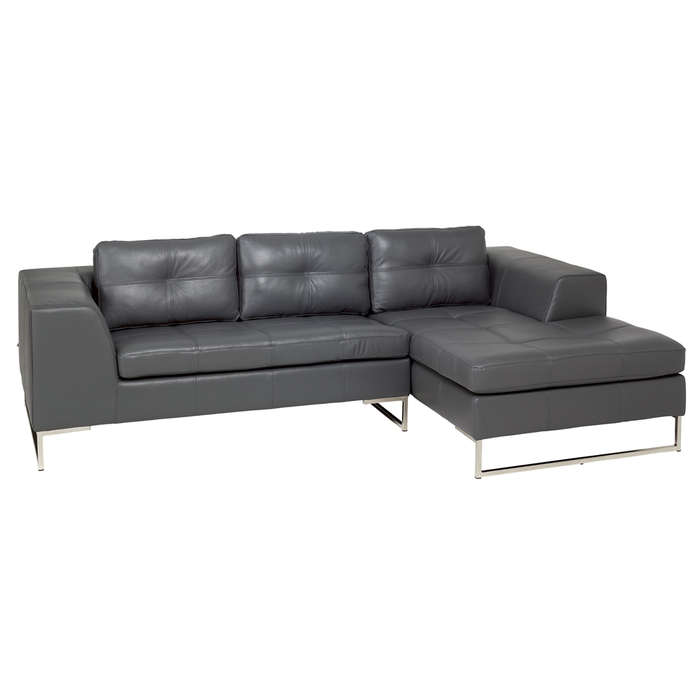 Vienna leather right hand compact corner sofa grey