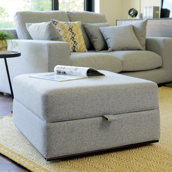Lisbon footstool with storage silver