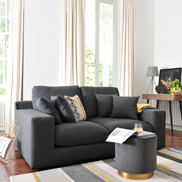 Lisbon two seater sofa charcoal