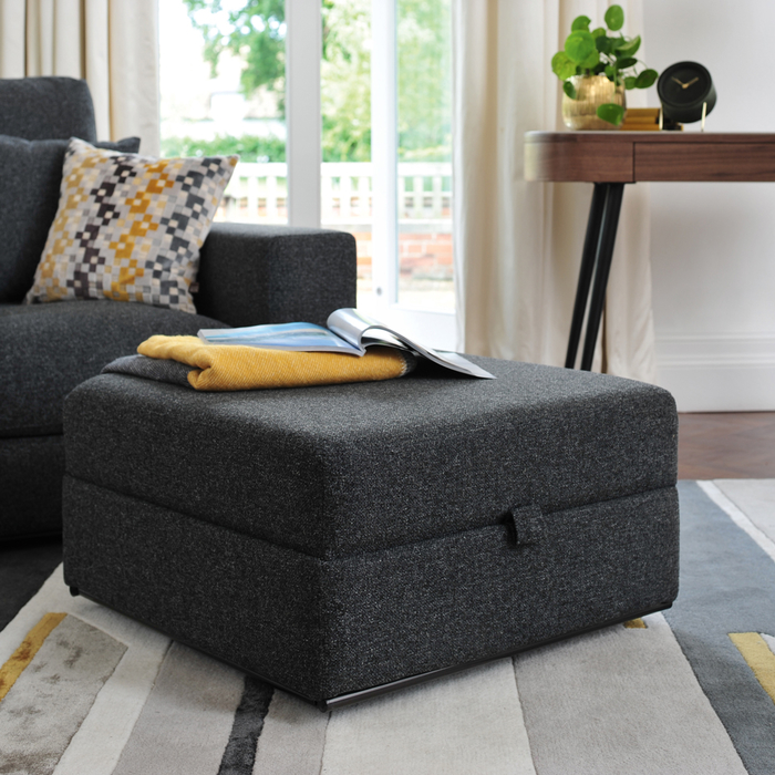 Lisbon footstool with storage charcoal