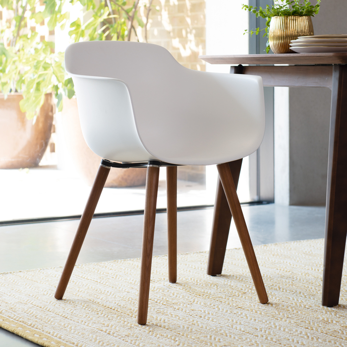 Treviso dining armchair white with walnut leg