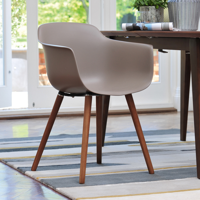 Treviso dining armchair stone with walnut leg