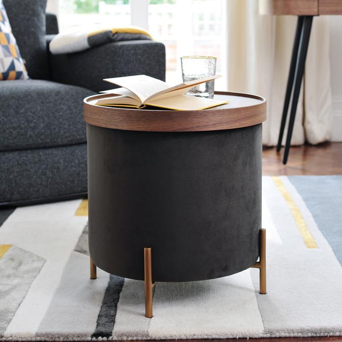 Margo side table brass leg grey velvet