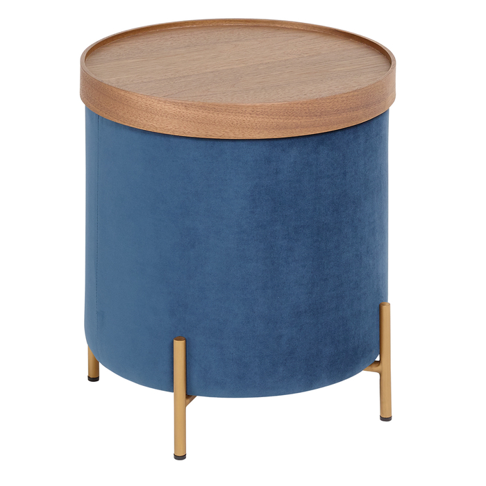 Margo side table brass leg blue velvet
