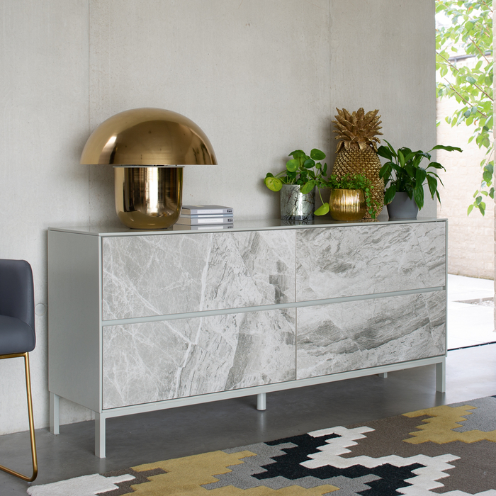 Avant sideboard light grey marble ceramic