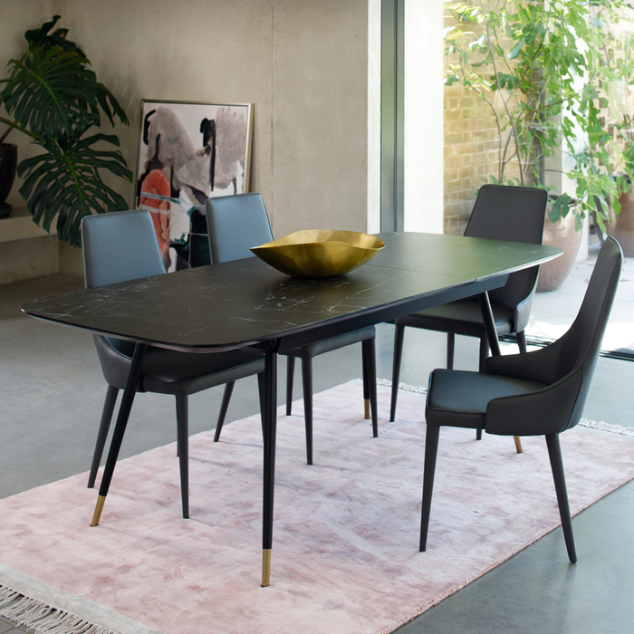 Ore extending 6-8 seater dining table black marble ceramic