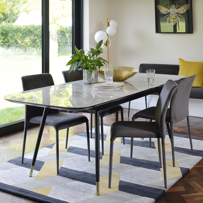 Ore extending 6-8 seater dining table grey marble ceramic