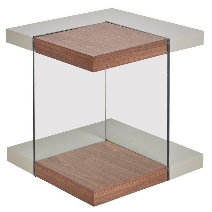 Treble side table walnut and light grey