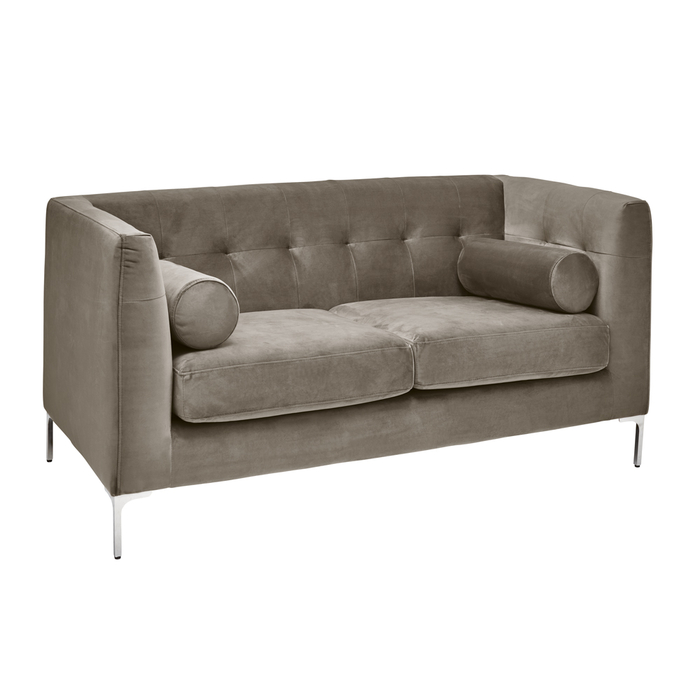 Lyon two seater sofa grey velvet