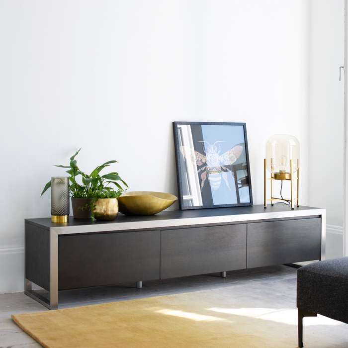 Steel frame tv unit large darkwood