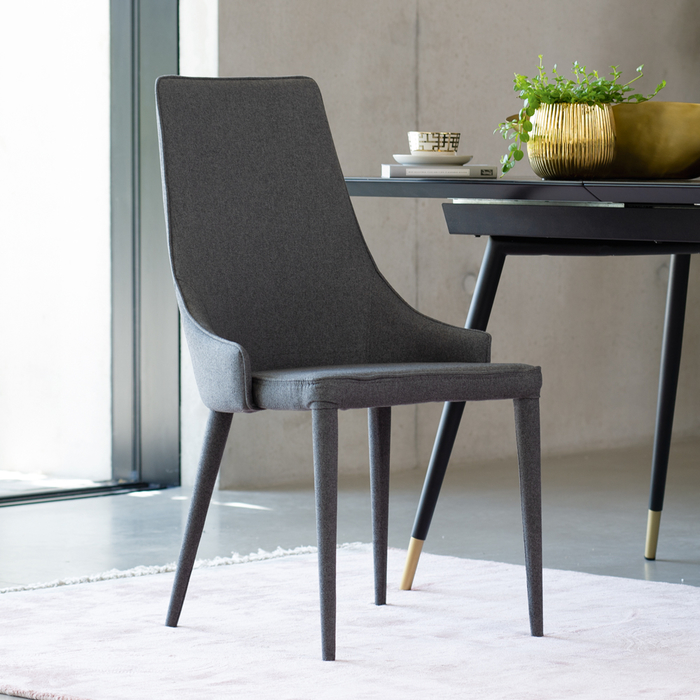Tapered dining chair grey fabric