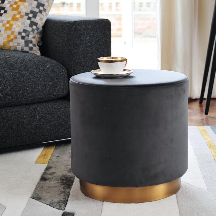 Duo stool grey velvet brass base