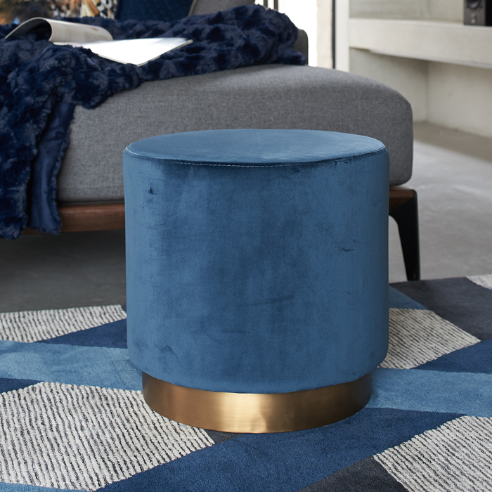 Duo stool blue velvet brass base
