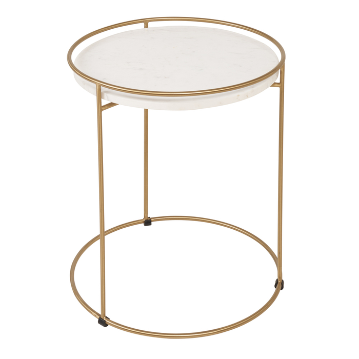 Anello marble side table brass leg