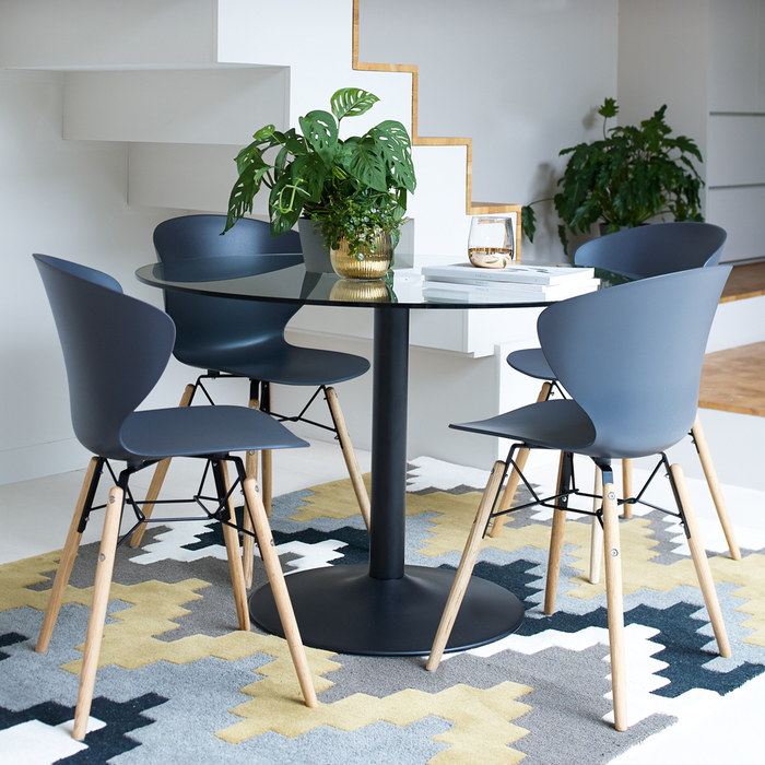 Lenis dining chair charcoal grey with oak legs set of two