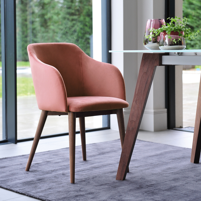 Dip dining chair dusky pink velvet