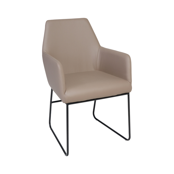 Trono dining chair stone faux leather black leg