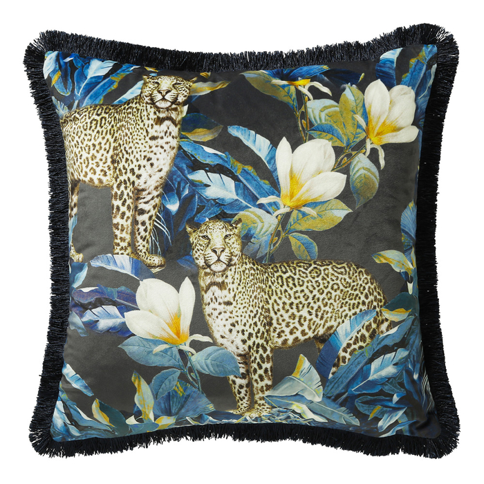 Leopard pattern fringe velvet cushion