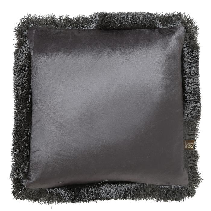 Fringe grey velvet cushion