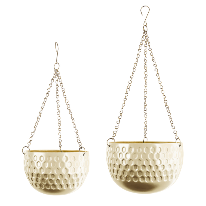 Pianta set of two hanging planters brass