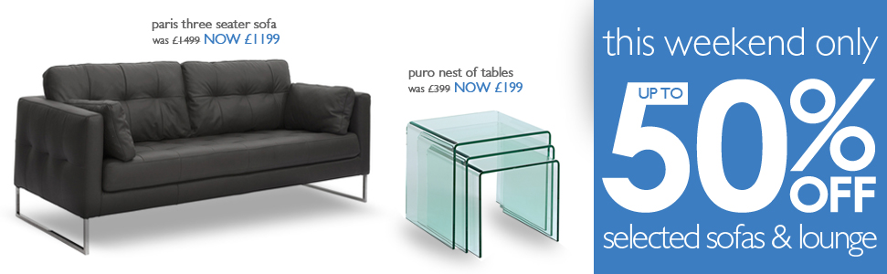 sale up to 50% off selected sofas & lounge
