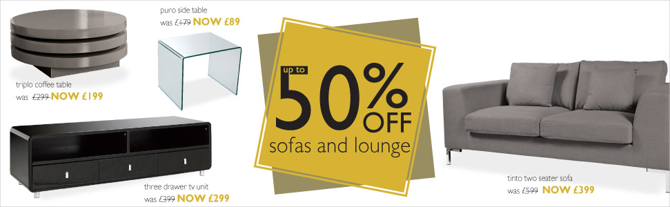 up to  50% off sofas and lounge