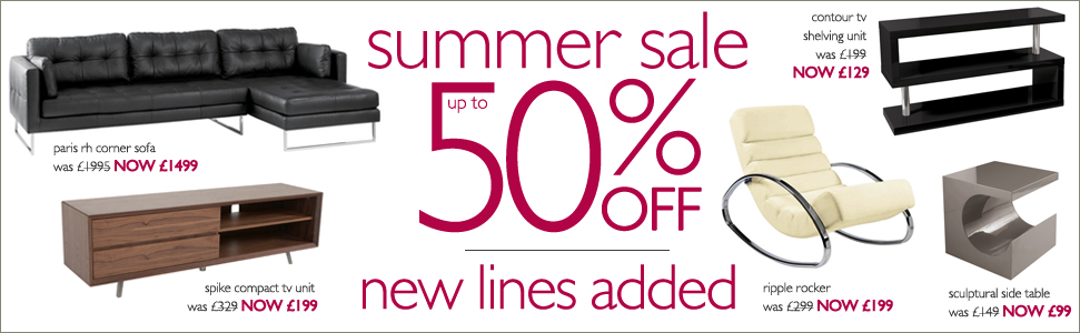 up to 50% off summer sale now on - new lines added