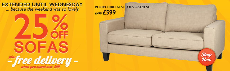 25% off Sofas-Styles to suit every budget
