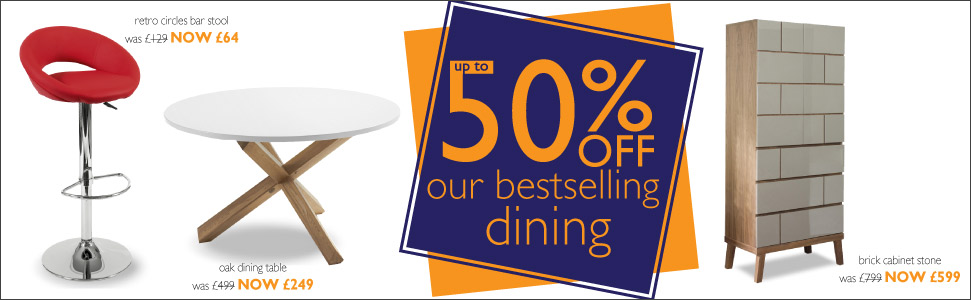 up to 50% off bestselling dining